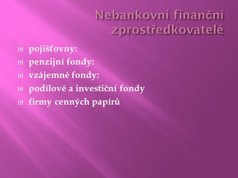  pojišťovny:  penzijní fondy:  vzájemné fondy:  podílové a investiční fondy  firmy cenných papírů