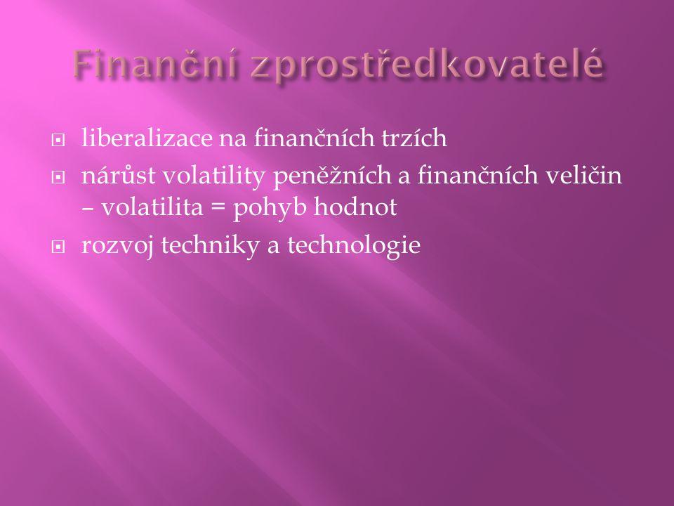  liberalizace na finančních trzích  nárůst volatility peněžních a finančních veličin – volatilita = pohyb hodnot  rozvoj techniky a technologie