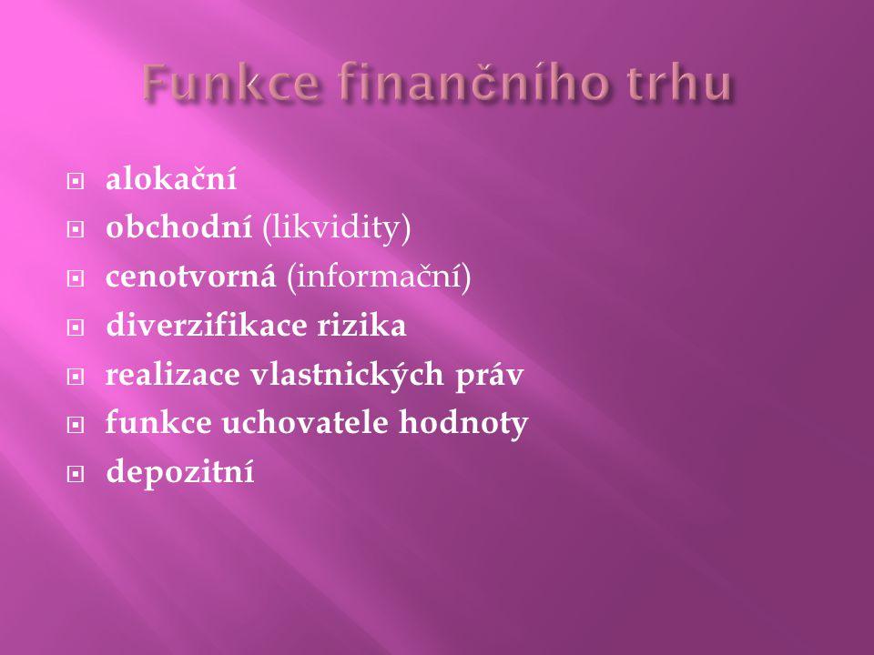  alokační  obchodní (likvidity)  cenotvorná (informační)  diverzifikace rizika  realizace vlastnických práv  funkce uchovatele hodnoty  depozitní