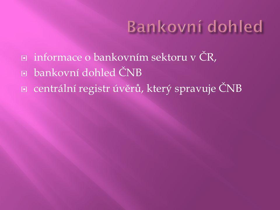  informace o bankovním sektoru v ČR,  bankovní dohled ČNB  centrální registr úvěrů, který spravuje ČNB