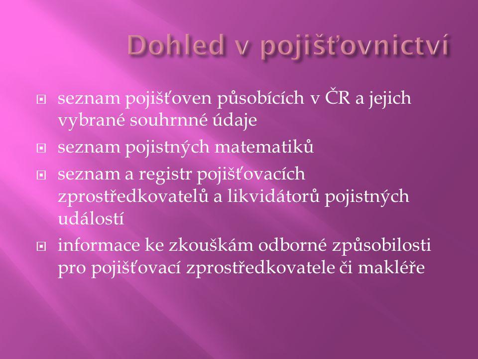 seznam pojišťoven působících v ČR a jejich vybrané souhrnné údaje  seznam pojistných matematiků  seznam a registr pojišťovacích zprostředkovatelů a likvidátorů pojistných událostí  informace ke zkouškám odborné způsobilosti pro pojišťovací zprostředkovatele či makléře