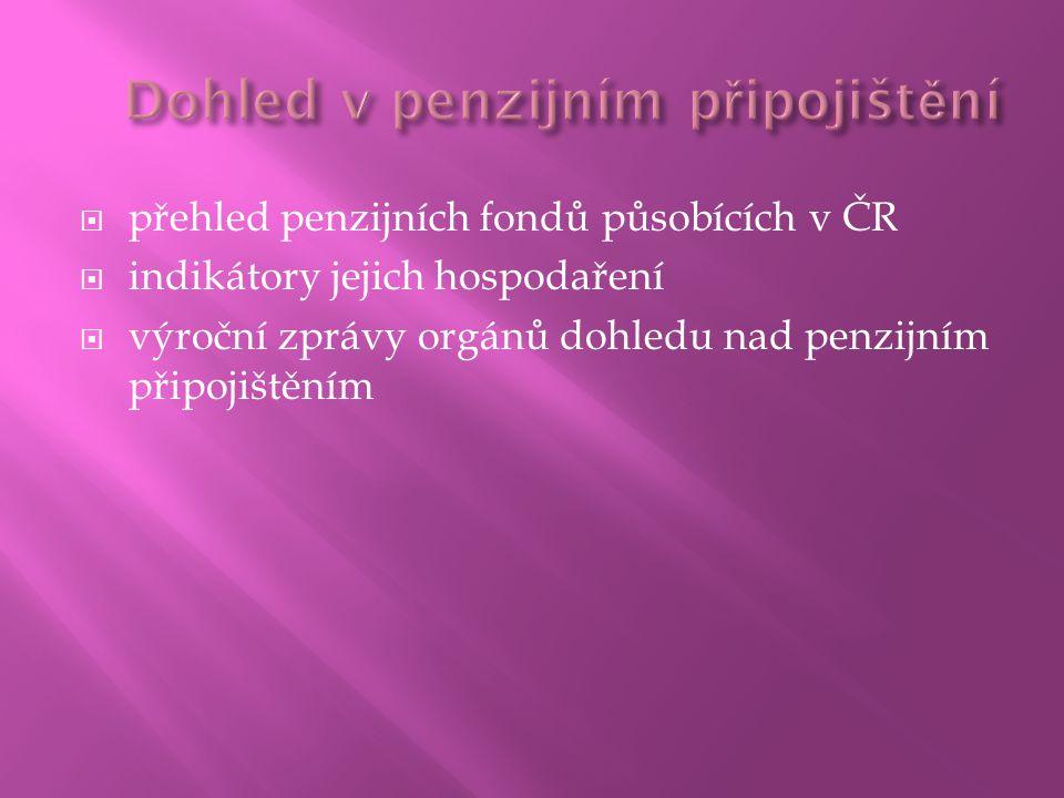  přehled penzijních fondů působících v ČR  indikátory jejich hospodaření  výroční zprávy orgánů dohledu nad penzijním připojištěním