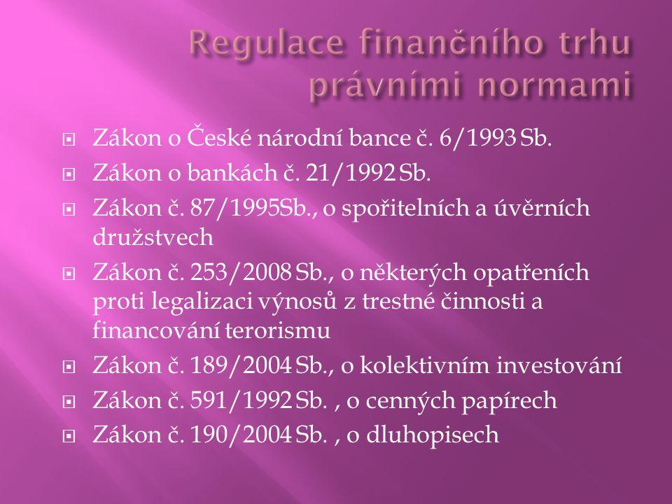  Zákon o České národní bance č. 6/1993 Sb.  Zákon o bankách č.