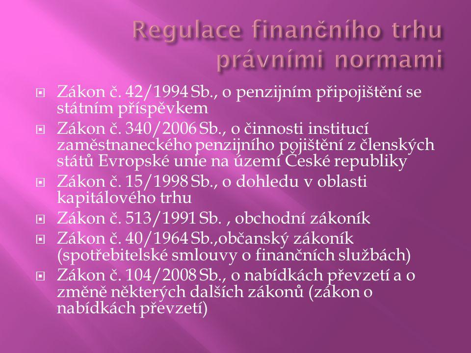  Zákon č. 42/1994 Sb., o penzijním připojištění se státním příspěvkem  Zákon č.