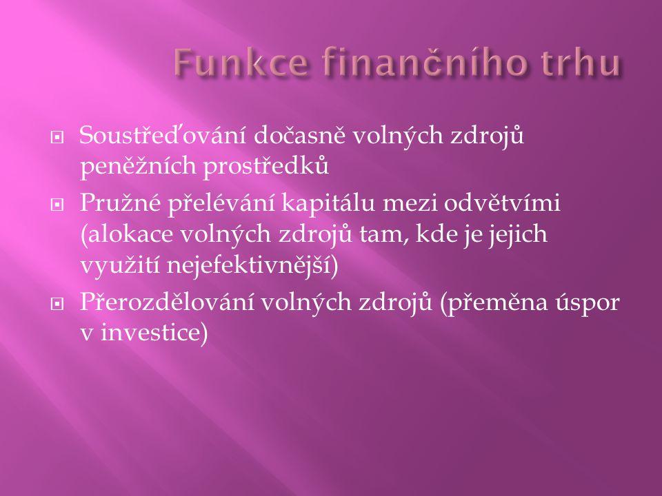  Soustřeďování dočasně volných zdrojů peněžních prostředků  Pružné přelévání kapitálu mezi odvětvími (alokace volných zdrojů tam, kde je jejich využití nejefektivnější)  Přerozdělování volných zdrojů (přeměna úspor v investice)