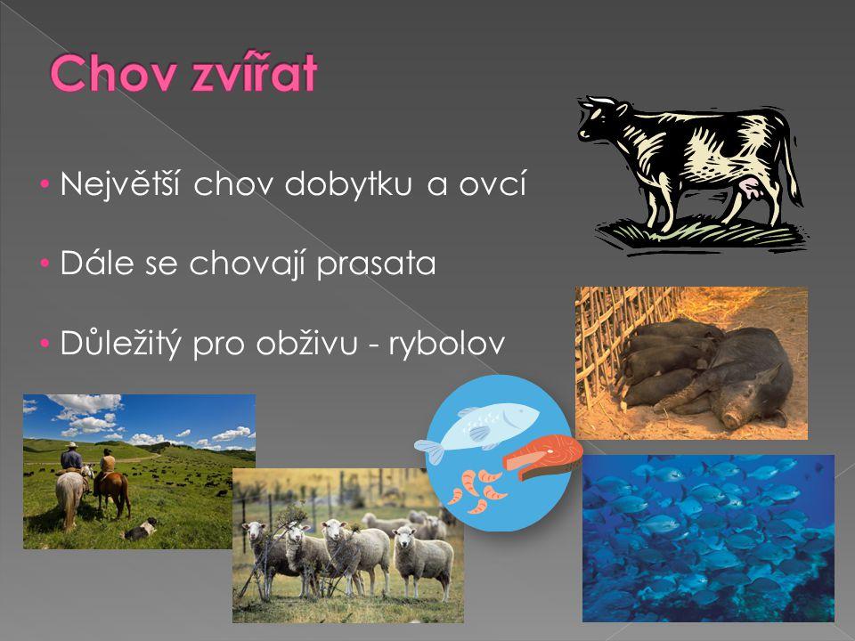 • Největší chov dobytku a ovcí • Dále se chovají prasata • Důležitý pro obživu - rybolov