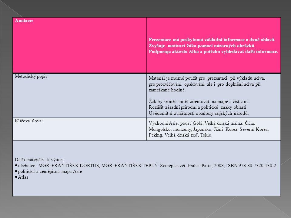 Anotace: Prezentace má poskytnout základní informace o dané oblasti. Zvyšuje motivaci žáka pomocí názorných obrázků. Podporuje aktivitu žáka a potřebu