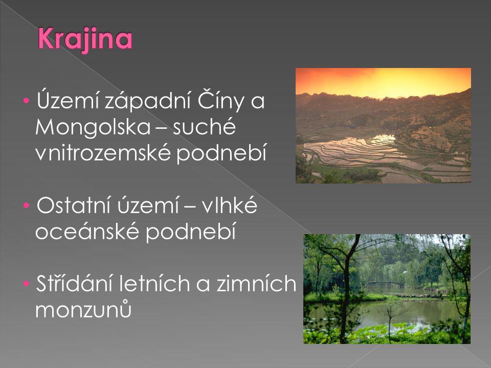 • Území západní Číny a Mongolska – suché vnitrozemské podnebí • Ostatní území – vlhké oceánské podnebí • Střídání letních a zimních monzunů