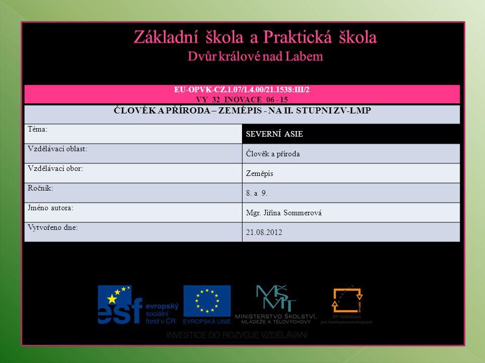 EU-OPVK-CZ.1.07/1.4.00/21.1538:III/2 VY_32_INOVACE_06 - 15 ČLOVĚK A PŘÍRODA – ZEMĚPIS - NA II. STUPNI ZV-LMP Téma: SEVERNÍ ASIEFRIKA Vzdělávací oblast