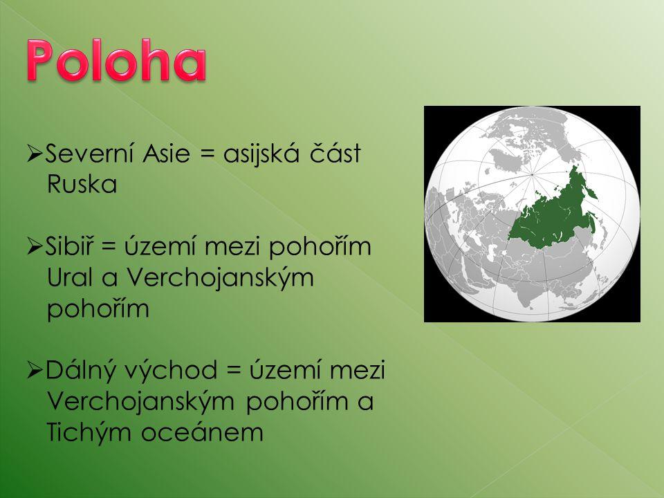  Severní Asie = asijská část Ruska  Sibiř = území mezi pohořím Ural a Verchojanským pohořím  Dálný východ = území mezi Verchojanským pohořím a Tich