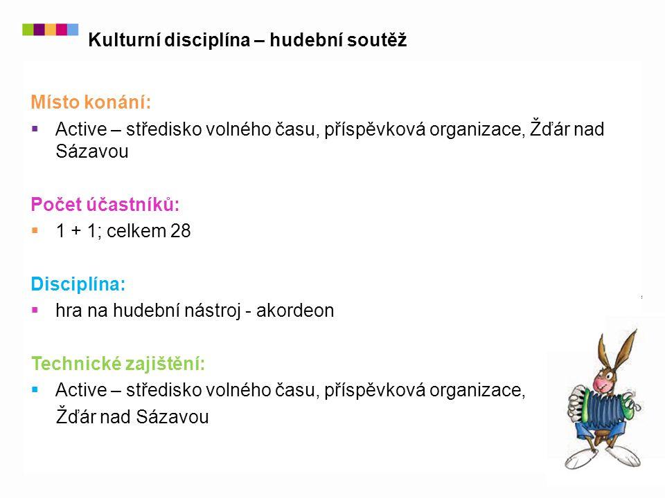 Místo konání:  Active – středisko volného času, příspěvková organizace, Žďár nad Sázavou Počet účastníků:  1 + 1; celkem 28 Disciplína:  hra na hud