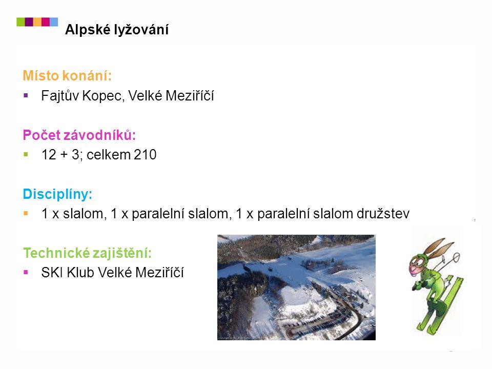 Místo konání:  Fajtův Kopec, Velké Meziříčí Počet závodníků:  12 + 3; celkem 210 Disciplíny:  1 x slalom, 1 x paralelní slalom, 1 x paralelní slalom družstev Technické zajištění:  SKI Klub Velké Meziříčí Alpské lyžování