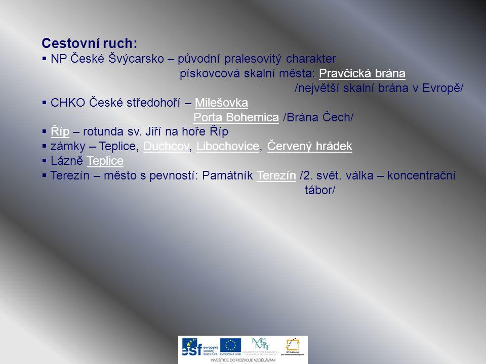 Cestovní ruch:  NP České Švýcarsko – původní pralesovitý charakter pískovcová skalní města: Pravčická brána /největší skalní brána v Evropě/Pravčická