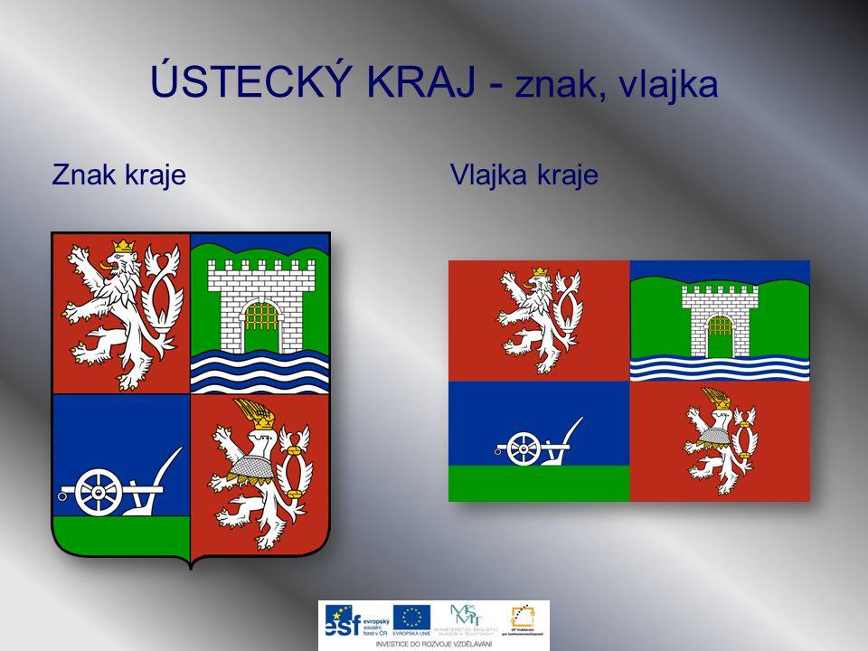 ÚSTECKÝ KRAJ - znak, vlajka Znak krajeVlajka kraje