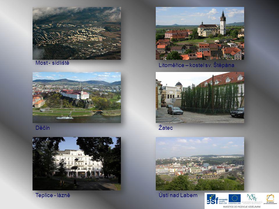 Hospodářství:  vysoce rozvinutá průmyslová výroba: Podkrušnohoří /Chomutov, Most, Teplice/  těžba hnědého uhlí: Mostecká hnědouhelná pánev /těžba je omezována/  zemědělská oblast: podél toků Labe a Ohře /zemědělská půda zaujímá více jak ½ rozlohy kraje/ úrodná půda /černozem, hnědozem/ - pěstování ovoce a zeleniny pěstování chmele – Žatec, Louny, Litoměřice  periferní /okrajové/ území: Šluknovský výběžek Odvětví:  energetický průmysl – tepelné elektrárny: Prunéřov, Tušimice, Počerady  chemický průmysl – Unipetrol Litvínov /agrochemie, petrochemie,rafinerie/Unipetrol zpracovatelský chemický průmysl – Setuza Ústí nad Labem - Oleochem /prací prášky, mýdla, zubní pasty/ Spolpharma Ústí, Lovochemie, Lukana OilOleochemSpolpharmaLovochemie  sklářský průmysl – AGC Teplice /výroba skla/AGC  textilní průmysl – Elite VarnsdorfElite  lázně – Teplice, Bílina, DubíTepliceBílinaDubí  silniční, železniční a lodní doprava - silnice E 55 spojující sever a jih Evropy - mezinárodní železniční trať: Německo – Ústí nad Labem – Praha - vodní cesta pro nákladní dopravu: Labe spojuje ČR se severním mořem
