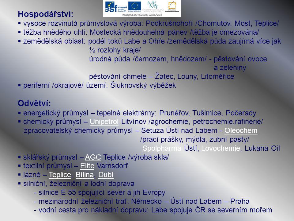 Hospodářství:  vysoce rozvinutá průmyslová výroba: Podkrušnohoří /Chomutov, Most, Teplice/  těžba hnědého uhlí: Mostecká hnědouhelná pánev /těžba je
