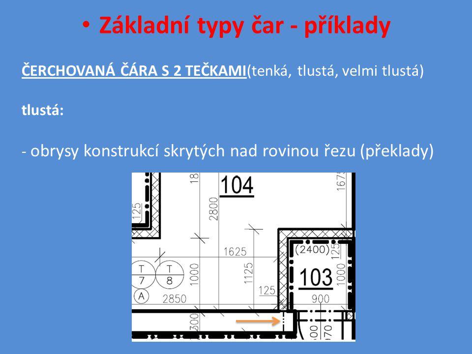 • Základní typy čar - příklady ČERCHOVANÁ ČÁRA S 2 TEČKAMI(tenká, tlustá, velmi tlustá) tlustá: - obrysy konstrukcí skrytých nad rovinou řezu (překlady)
