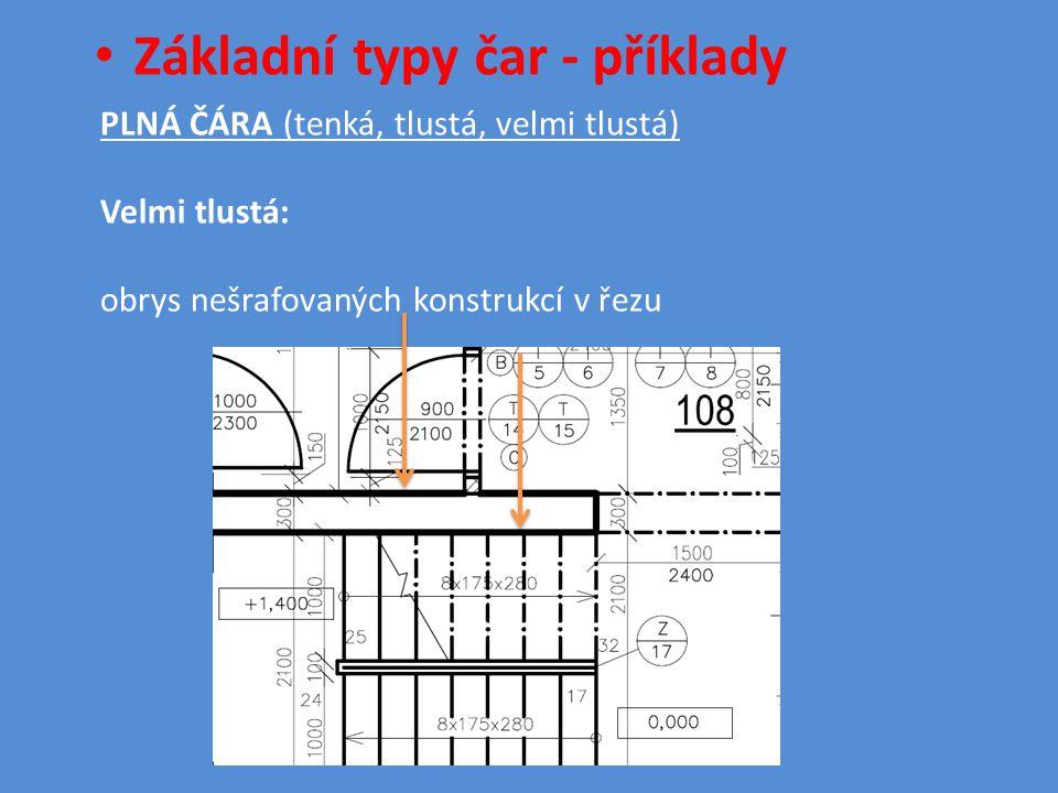 • Základní typy čar - příklady PLNÁ ČÁRA (tenká, tlustá, velmi tlustá) Velmi tlustá: obrys nešrafovaných konstrukcí v řezu