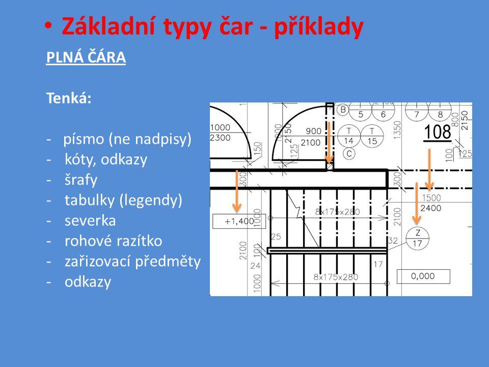 • Základní typy čar - příklady PLNÁ ČÁRA Tenká: - písmo (ne nadpisy) -kóty, odkazy -šrafy -tabulky (legendy) -severka -rohové razítko -zařizovací předměty -odkazy