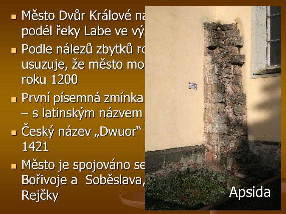  Město Dvůr Králové nad Labem leží v kotlině podél řeky Labe ve výšce 298 m nad mořem  Podle nálezů zbytků románské apsidy se usuzuje, že město mohl