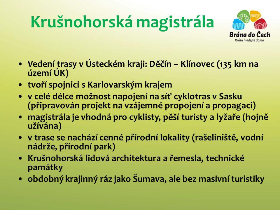 Krušnohorská magistrála •Vedení trasy v Ústeckém kraji: Děčín – Klínovec (135 km na území ÚK) •tvoří spojnici s Karlovarským krajem •v celé délce možn