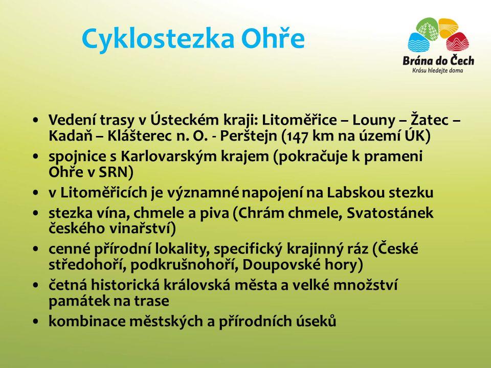 Cyklostezka Ohře •Vedení trasy v Ústeckém kraji: Litoměřice – Louny – Žatec – Kadaň – Klášterec n.