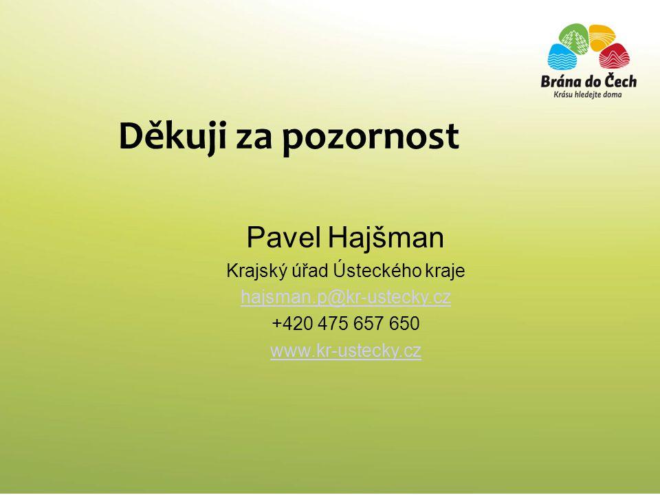 Děkuji za pozornost Pavel Hajšman Krajský úřad Ústeckého kraje hajsman.p@kr-ustecky.cz +420 475 657 650 www.kr-ustecky.cz