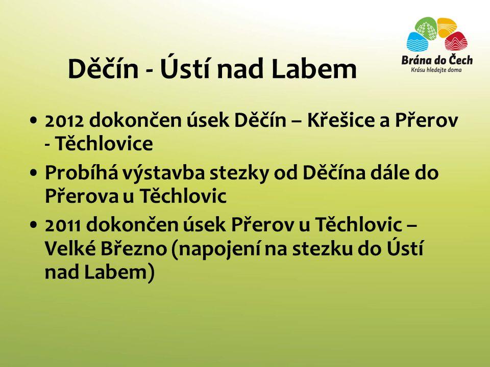 Děčín - Ústí nad Labem •2012 dokončen úsek Děčín – Křešice a Přerov - Těchlovice •Probíhá výstavba stezky od Děčína dále do Přerova u Těchlovic •2011