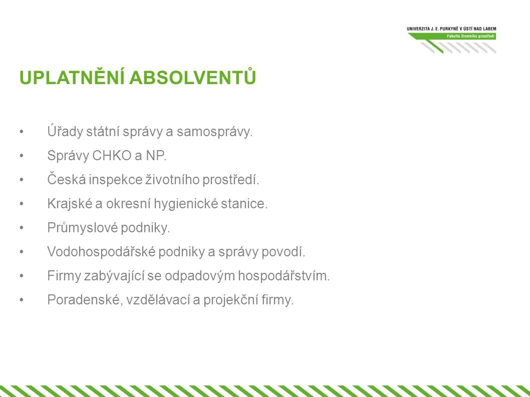 UPLATNĚNÍ ABSOLVENTŮ •Úřady státní správy a samosprávy. •Správy CHKO a NP. •Česká inspekce životního prostředí. •Krajské a okresní hygienické stanice.