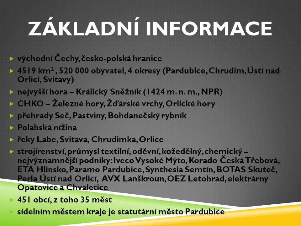 ZÁKLADNÍ INFORMACE  východní Čechy, česko-polská hranice  4519 km 2, 520 000 obyvatel, 4 okresy (Pardubice, Chrudim, Ústí nad Orlicí, Svitavy)  nejvyšší hora – Králický Sněžník (1424 m.