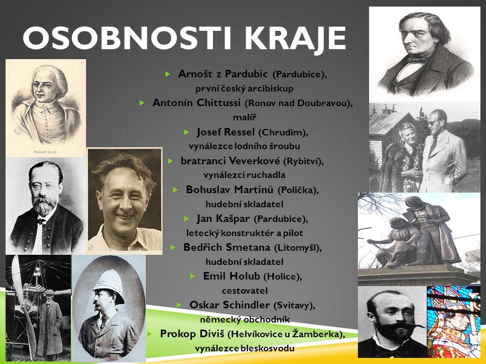 OSOBNOSTI KRAJE  Arnošt z Pardubic (Pardubice), první český arcibiskup  Antonín Chittussi (Ronov nad Doubravou), malíř  Josef Ressel (Chrudim), vyn