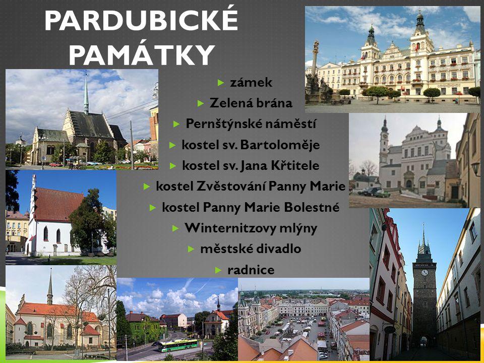 PARDUBICKÉ PAMÁTKY  zámek  Zelená brána  Pernštýnské náměstí  kostel sv.