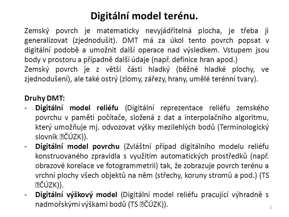 3 Digitální model terénu. Výstupy DMT: