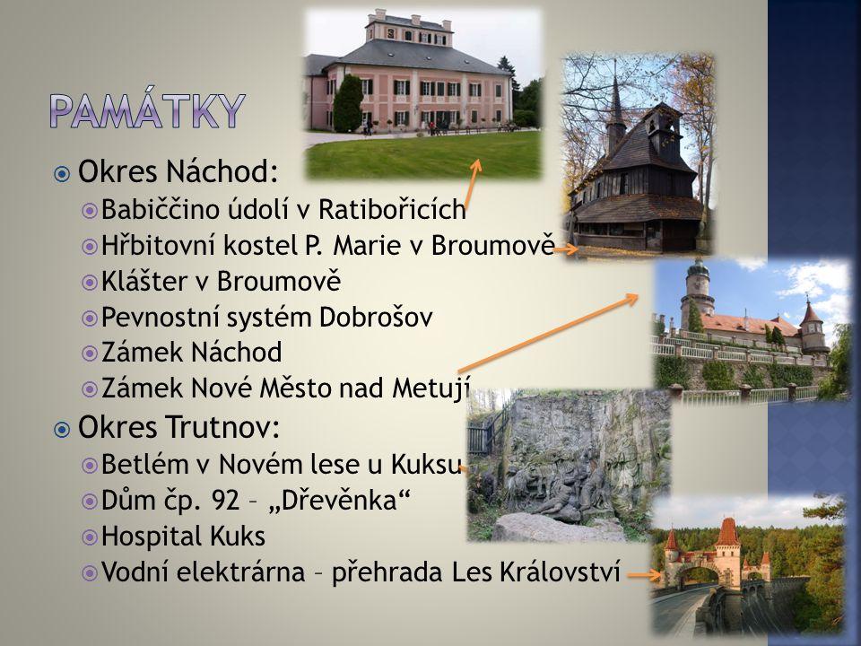  Okres Náchod:  Babiččino údolí v Ratibořicích  Hřbitovní kostel P. Marie v Broumově  Klášter v Broumově  Pevnostní systém Dobrošov  Zámek Nácho