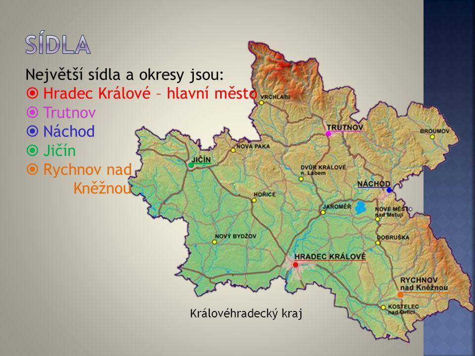Královéhradecký kraj Největší sídla a okresy jsou:  Hradec Králové – hlavní město  Trutnov  Náchod  Jičín  Rychnov nad Kněžnou