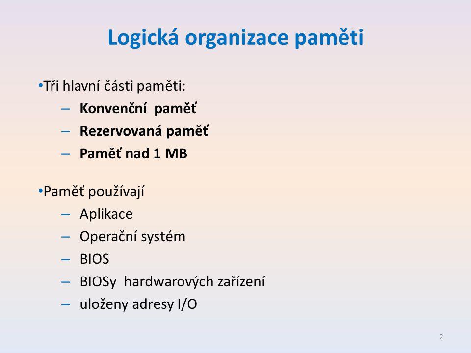 Logická organizace paměti • Tři hlavní části paměti: – Konvenční paměť – Rezervovaná paměť – Paměť nad 1 MB • Paměť používají – Aplikace – Operační systém – BIOS – BIOSy hardwarových zařízení – uloženy adresy I/O 2