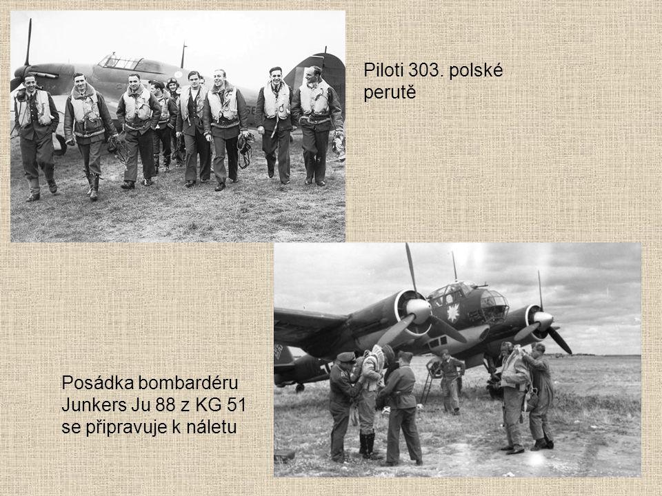 Posádka bombardéru Junkers Ju 88 z KG 51 se připravuje k náletu Piloti 303. polské perutě