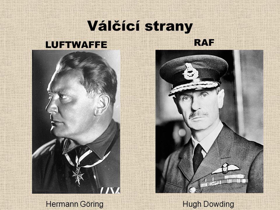 Válčící strany LUFTWAFFE RAF Hermann GöringHugh Dowding