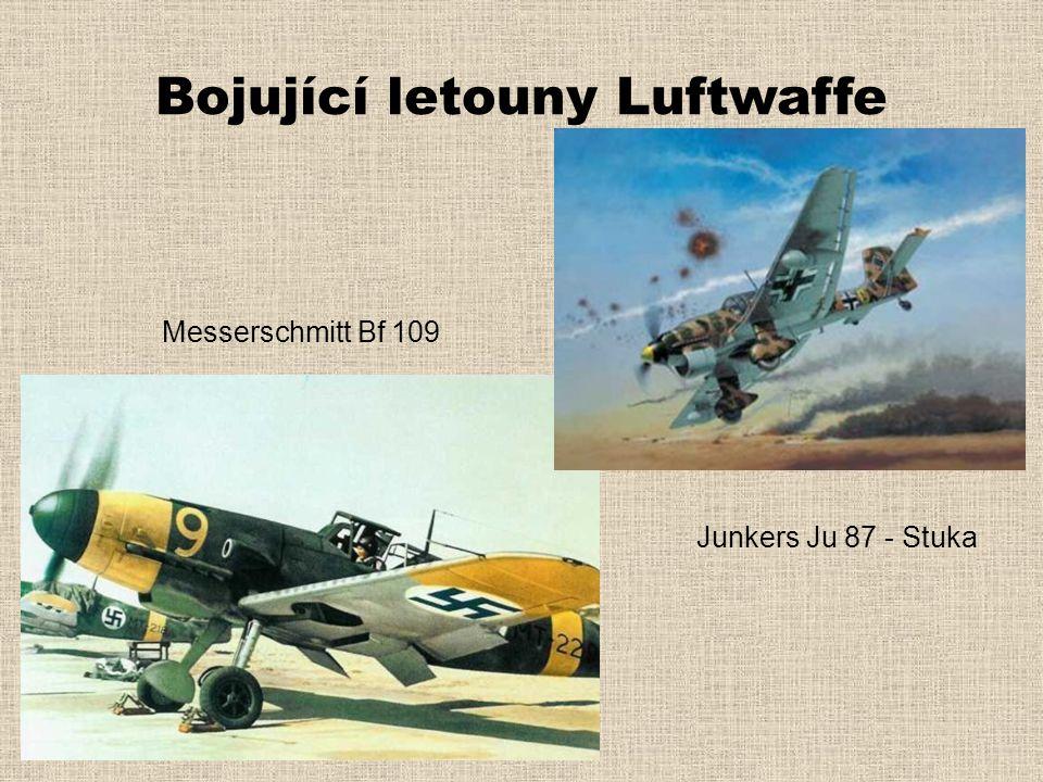 Bojující letouny Luftwaffe Messerschmitt Bf 109 Junkers Ju 87 - Stuka