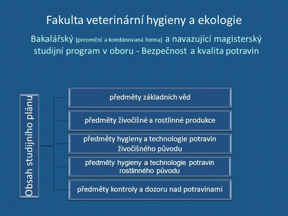 Fakulta veterinární hygieny a ekologie Bakalářský (prezenční a kombinovaná forma) a navazující magisterský studijní program v oboru - Bezpečnost a kvalita potravin Obsah studijního plánu předměty základních věd předměty živočišné a rostlinné produkce předměty hygieny a technologie potravin živočišného původu předměty hygieny a technologie potravin rostlinného původu předměty kontroly a dozoru nad potravinami