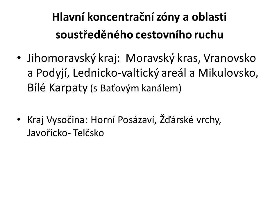 Hlavní koncentrační zóny a oblasti soustředěného cestovního ruchu • Jihomoravský kraj: Moravský kras, Vranovsko a Podyjí, Lednicko-valtický areál a Mi