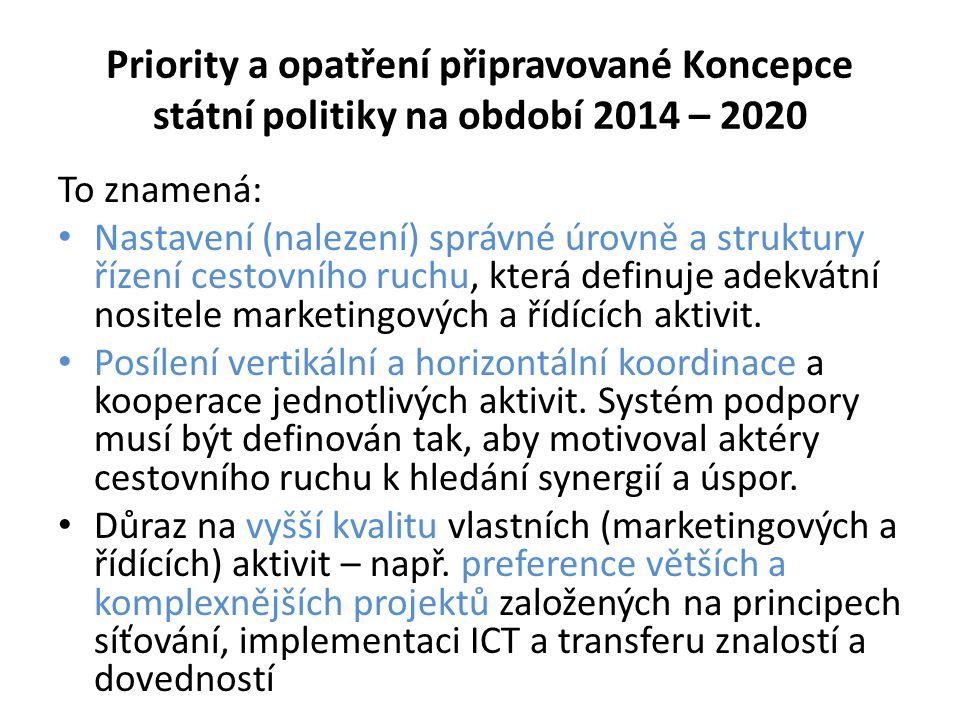 Priority a opatření připravované Koncepce státní politiky na období 2014 – 2020 To znamená: • Nastavení (nalezení) správné úrovně a struktury řízení c