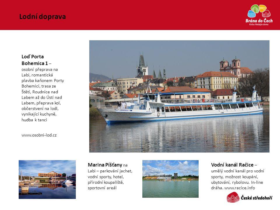Lodní doprava Loď Porta Bohemica 1 – osobní přeprava na Labi, romantická plavba kaňonem Porty Bohemici, trasa ze Štětí, Roudnice nad Labem až do Ústí