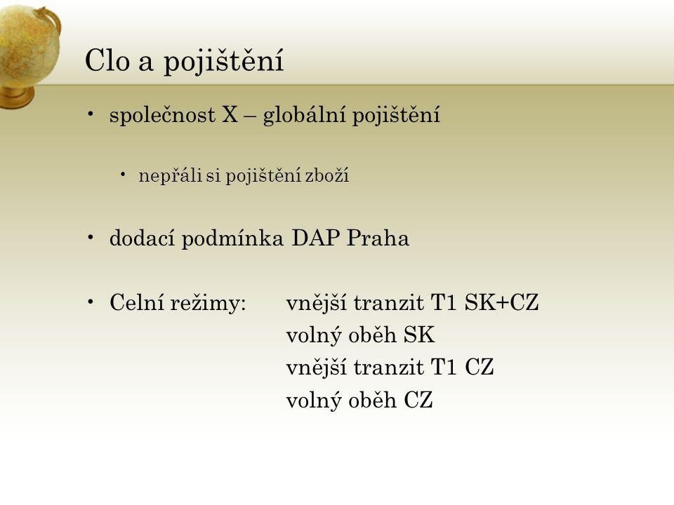 Clo a pojištění •společnost X – globální pojištění •nepřáli si pojištění zboží •dodací podmínka DAP Praha •Celní režimy: vnější tranzit T1 SK+CZ volný oběh SK vnější tranzit T1 CZ volný oběh CZ