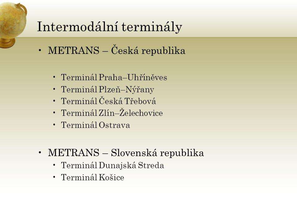 Intermodální terminály •METRANS – Česká republika •Terminál Praha–Uhříněves •Terminál Plzeň–Nýřany •Terminál Česká Třebová •Terminál Zlín–Želechovice •Terminál Ostrava •METRANS – Slovenská republika •Terminál Dunajská Streda •Terminál Košice