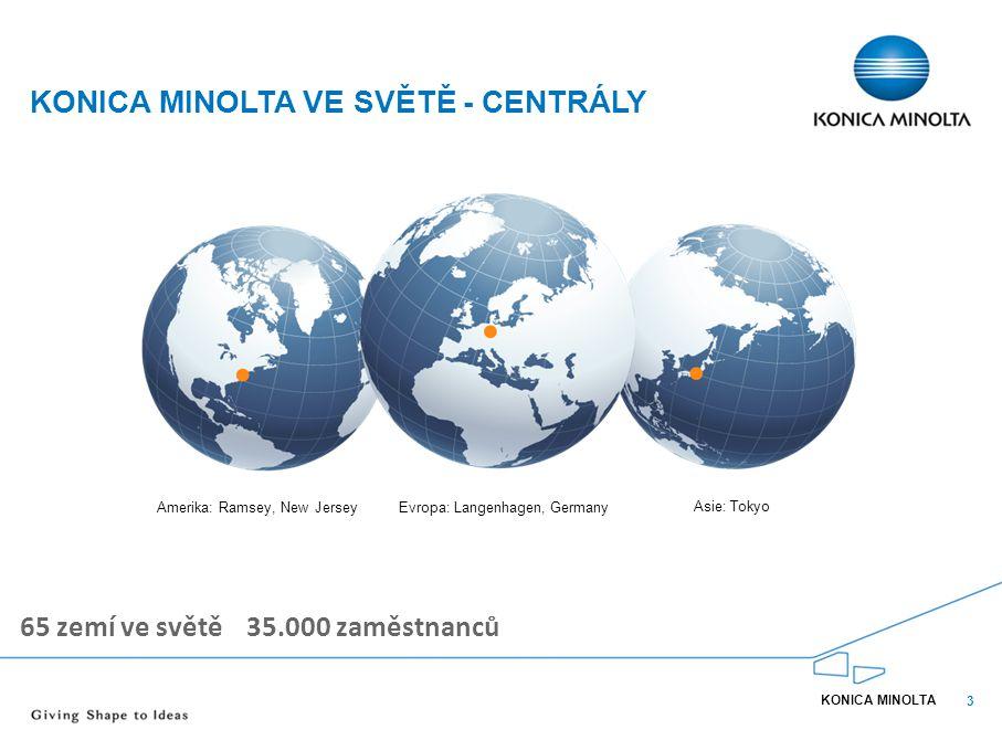 3 KONICA MINOLTA VE SVĚTĚ - CENTRÁLY KONICA MINOLTA 65 zemí ve světě 35.000 zaměstnanců Amerika: Ramsey, New JerseyEvropa: Langenhagen, Germany Asie: