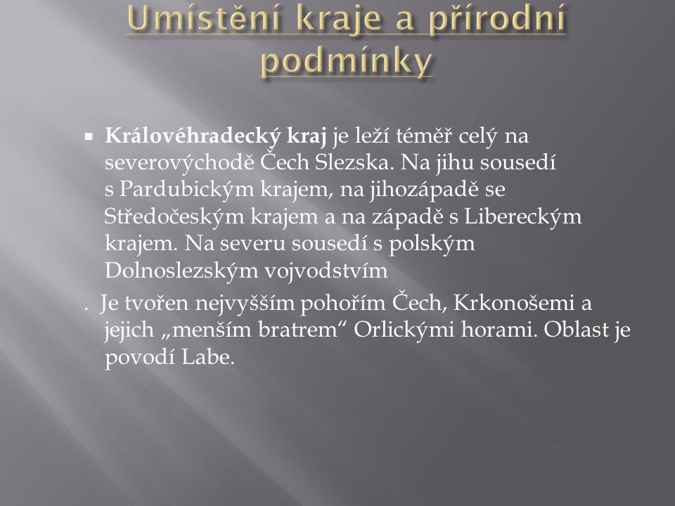  Královéhradecký kraj je leží téměř celý na severovýchodě Čech Slezska. Na jihu sousedí s Pardubickým krajem, na jihozápadě se Středočeským krajem a