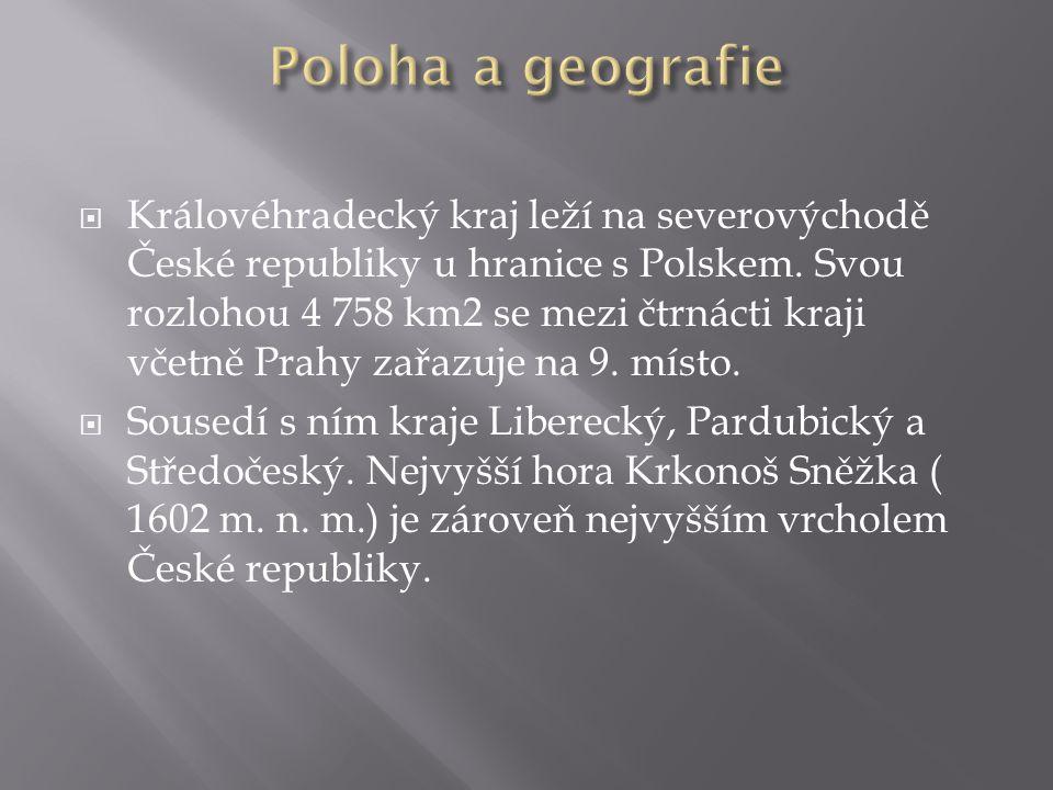  Královéhradecký kraj leží na severovýchodě České republiky u hranice s Polskem. Svou rozlohou 4 758 km2 se mezi čtrnácti kraji včetně Prahy zařazuje