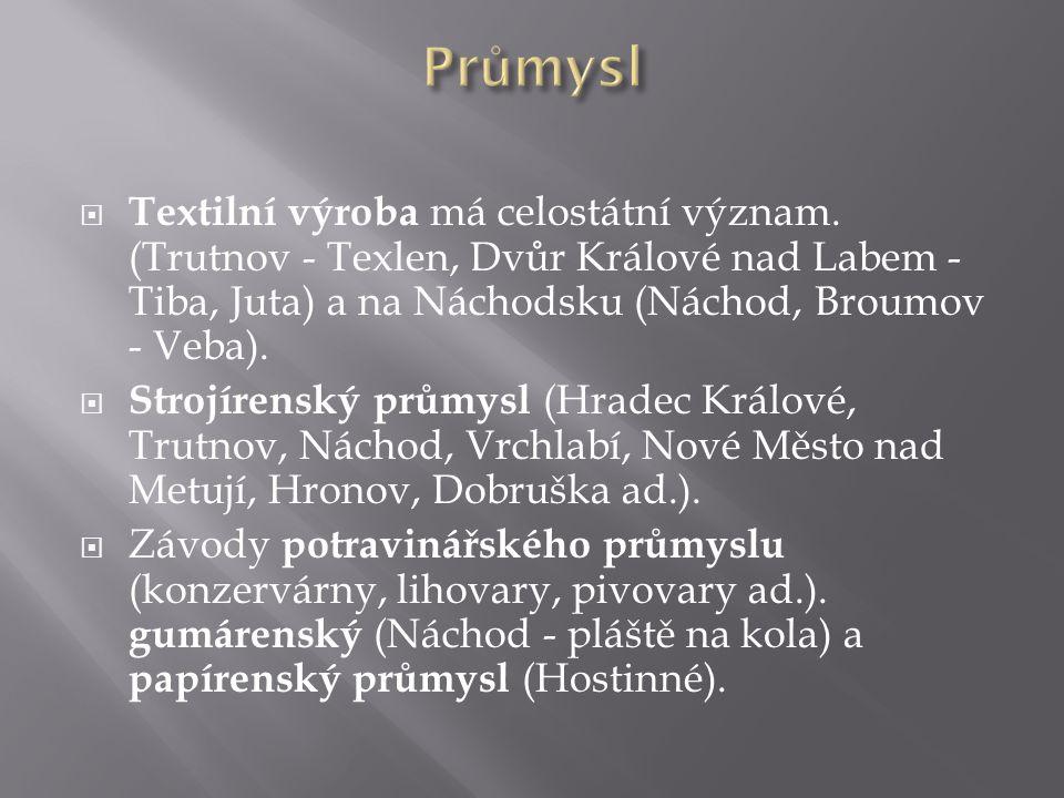  Textilní výroba má celostátní význam. (Trutnov - Texlen, Dvůr Králové nad Labem - Tiba, Juta) a na Náchodsku (Náchod, Broumov - Veba).  Strojírensk