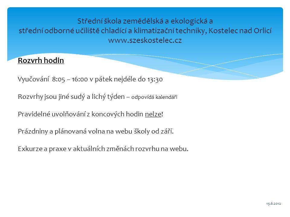 Střední škola zemědělská a ekologická a střední odborné učiliště chladící a klimatizační techniky, Kostelec nad Orlicí www.szeskostelec.cz Rozvrh hodi